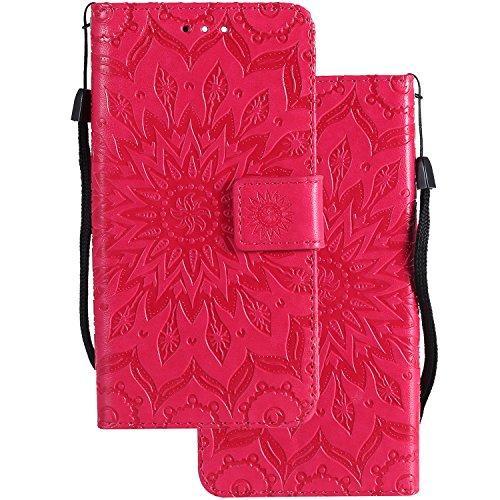LEMORRY para Huawei P8lite / ALE-L21 Funda Estuches Cuero Flip Billetera Bolsa Piel Protector Magnética Cierre TPU Silicona Carcasa Tapa para Huawei P8lite, Flor Rojo