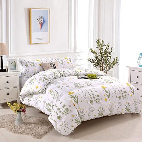 YMY Lightweight Microfiber Bedding Duvet Cover Set,Floral Printing Pattern