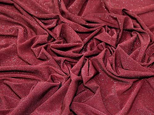 Minerva Crafts Lurex-Jersey-Stoff, Meterware, Weinrot