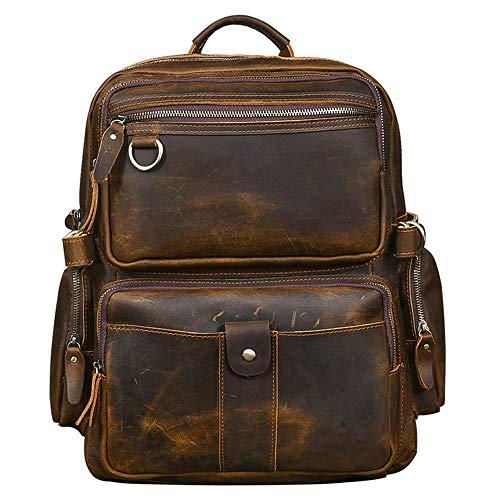 Cowhide Leather Men Backpack 17 Inch Laptop Bag Outdoor Travel Backpacks Male Schoolbags (Brown)