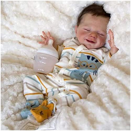 JXWANG Bambole Reborn in Silicone Morbido Tutto Il Corpo Maschio, 46 Cm Realistica Bambola, Vinile Siliconico Bambola Reborn - per 3-10 Regali per Bambini
