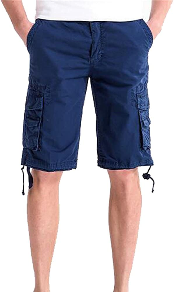 Allonly Men's Fashion Casual Cotton Solid Color Relaxed Fit Multi-Pocket Cargo Shorts