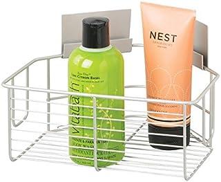 mDesign Cesta para la Ducha esquinera – Práctico Organizador de baño – Accesorio de baño sin Taladro – Ideal estantería de baño en Aluminio con óptica en níquel Cepillado