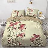 ILYY Juego de ropa de cama con diseño de flores y plantas, funda nórdica de microfibra blanca con cremallera, 3 juegos de fundas de almohada (140 x 200 cm)
