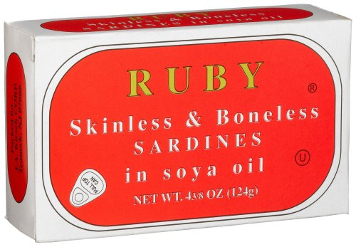 Ruby Skinless and Boneless Sardines In Soya Oil, 4 3/8-Ounce Tins (Pack Of 25)