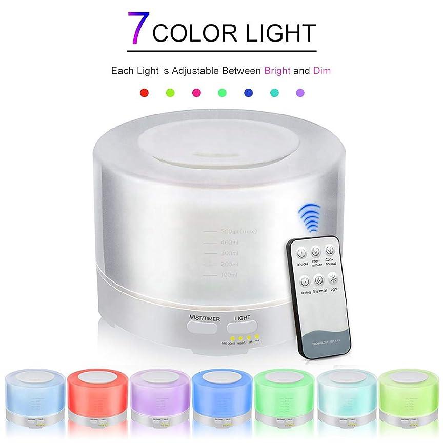 便宜掻く実用的500ml エッセンシャルオイル ディフューザー、 アロマテラピー 機械 木地 リモコン アロマテラピー 機械 ホーム 空気 清浄剤、 7つのLED 明るい色