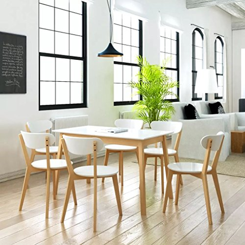 Lingjiushopping Juego de comedor siete piezas de DM y madera de abedul, color blanco y natural material color Asiento/Respaldo/Llano del mesa de MDF lacado + struttuta (madera de abedul