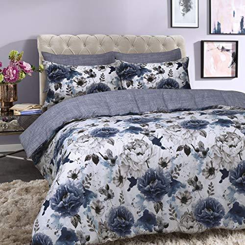 Sleepdown Inky Floral Blue Juego de Funda de edredón tamaño King, algodón, Azul, Matrimonio