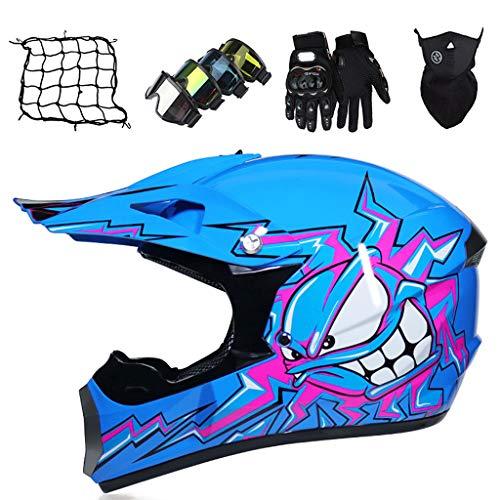 Casco de Moto Niños, Casco de Cross de Enduro Downhill, Equipo de Protección de Motocross con Gafas/Guantes/Máscara/Red eLástica (5 piezas) para Niños y Niñas - Monstruo Azul