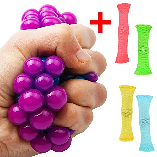 1 Stress Relief Ball + 4 Fidget Toys Anti Stress Squeeze Grape Ball Therapy Sensory Fidget Toy For Kids And Adults Help Focus Mesh Squishy And Fun Figit ADHD Hand Educational Chewy Baby toy (Blue)