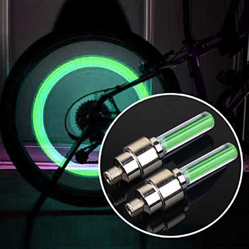 PANPAN Accesorios de la Bicicleta, Lámpara del neumático de la Rueda de 2 PCS con la batería para el Coche/la Moto/la Bici (Color : Green Light)