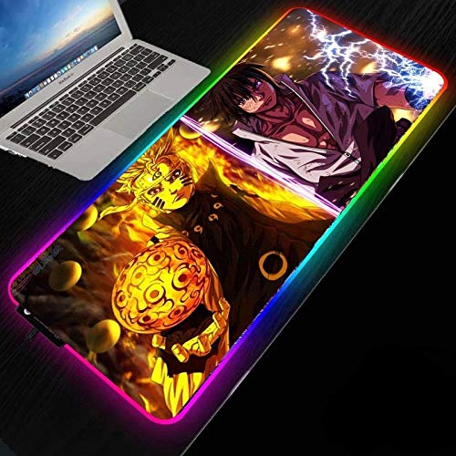 Anime Naruto Naruto Vs Sasuke RGB Gaming Mouse Mat Pad - Large Extended Led Mousepad with 14 Lighting Modes 2 Brightness, Anti-Slip Rubber Base with Waterproof Mouse Mat for Gamer 19.69'x39.37'