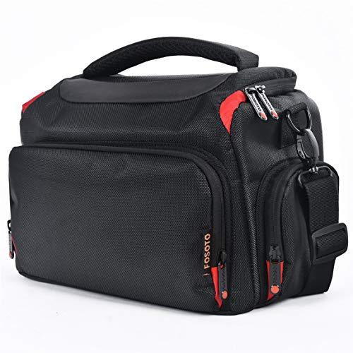 FOSOTO DSLR Camera Shoulder Bag Case Compatible for Canon EOS Rebel T7 T6 4000D 80D 90D 6D Mark II,Nikon D3500 D3400 D5600 D60 D750,Sony SLR and Lenses (Large)