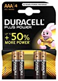 Duracell Plus Power Piles Alcalines Type AAA, Paquet de 4, (L'emballage peut varier)