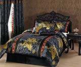 Chezmoi Collection 7-Piece Black Gold Red Palace Dragon Jacquard Comforter Set Bed-in-a-Bag King Size