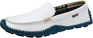 Mens Driving Moccasin Shoes Lace Up Leather Lightweight Flat Comfort Boat Walking Loafers