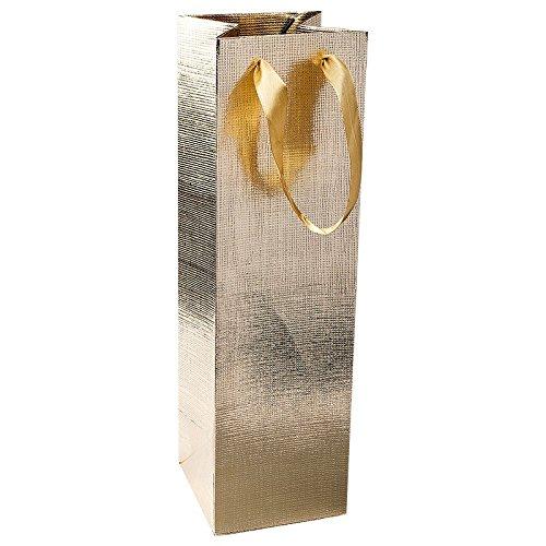 Edle Geschenktaschen für Flaschen, 3 Stück, jeweils 36cm x 10,5cm x 10,5cm, | Flaschentüten, Weintüten, Geschenktüten für Wein, Prosecco, Sekt, Champagner | Hochzeit, Jubiläum, Geburtstag (gold)