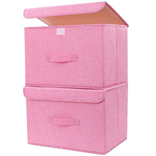 DIMJ Cajas Almacenaje Lavable, Juegos de 2 Cajas Organizadoras con Tapa y Asa, Contenedores de Almacenamiento Plegable, Cajas de Tela para Ropa Juguetes Libros (Rosado)