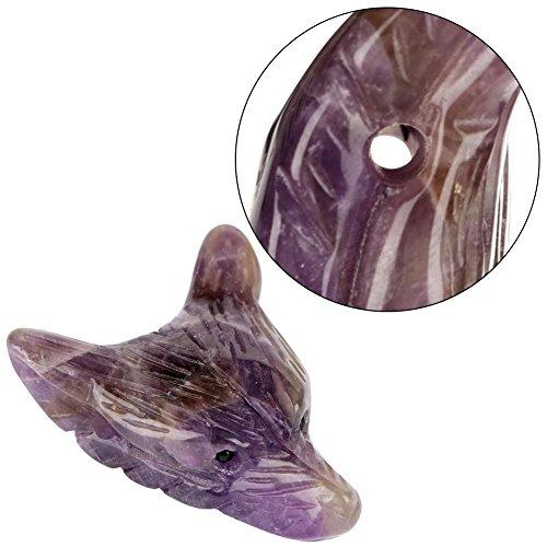 Piedra de cristal Cabeza de lobo Colgante de cristal Cabeza de lobo en forma de colgante Pulsera Diy...