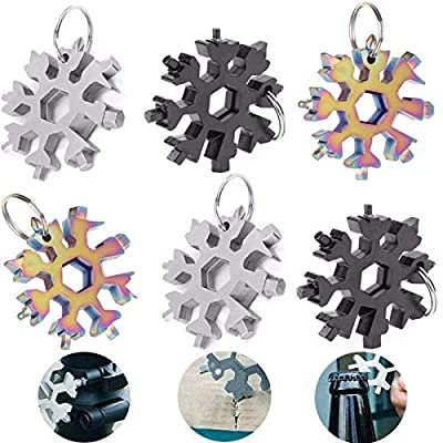 Boltigen 18-in-1 Stainless Steel Snowflake Keychain Multi-Tool Portable Keychain Screwdriver Bottle Opener Tool for Outdoor Camping Gift for Valentine's Day, Birthday, and Happy New Year