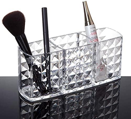 Recet Caja de almacenamiento, dispensador de almohadillas de algodón y soporte para bastoncillos de algodón 3 en 1, organizador de maquillaje, para guardar lápices labiales y brochas de maquillaje (B)