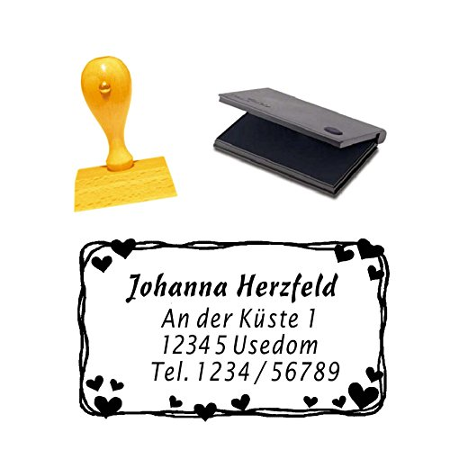 Houten stempel met adres, etui met hartjes, incl. stempelkussen, afdrukgrootte ca. 5 x 3 cm.
