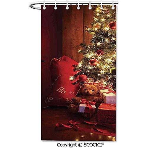 36x72 inch, douchegordijnen 12 haken inclusief kerstscène met versierde lichtgevende boom en geschenken door de open haard kunstzinnige afbeelding stof douchegordijnen