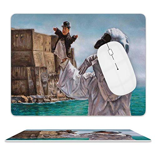 Fzoneme Gaming Mouse Pad Country Painting of Pulcinella The Old Castle Classical Traditional Comedy Character Art Grey Blue Beige 10'x8' Nonslip Rubber Backing Mousepad Notebooks Computers Mouse