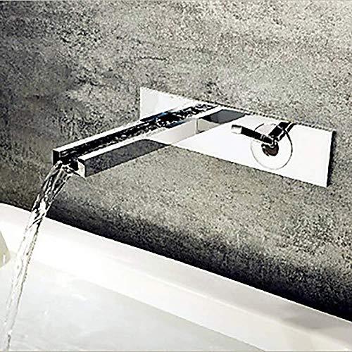 LIANGANAN Plata Moderno baño Grifo del Fregadero - Cascada Cromo montado en la Pared de una manija de Dos Agujeros Grifo de la bañera Hermosa práctica
