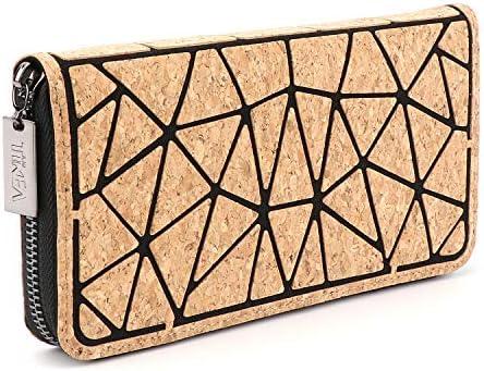 Tikea Wallet Geometric Purse Natural Cork Wallet Money Clip product image