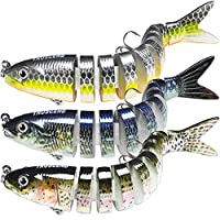 "TRUSCEND Fishing Lures for Bass 4"" Multi Jointed Swimbaits Slow Sinking Hard Lure Fishing Tackle Kits Lifelike"