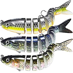 """TRUSCEND Fishing Lures for Bass 4"""" Multi Jointed Swimbaits Slow Sinking Hard Lure Fishing Tackle Kits Lifelike"""