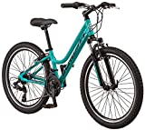 Schwinn High Timber AL Youth/Adult Mountain Bike, Aluminum Frame, 24-Inch Wheels, 21-Speed, Teal