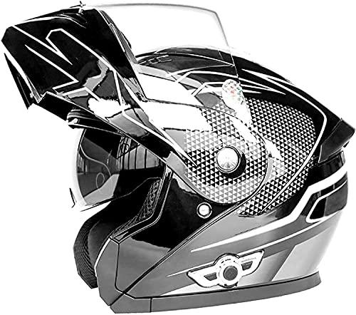 Casco integral Casco modular de moto Casco Bluetooth de cara completa para motocicleta, casco modular abatible para motocicleta, casco integrado de carreras de motocross, certificación DOT / ECE con
