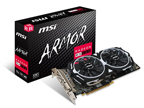 MSI RX 580 Armor 8G OC Gaming Radeon RX 580 GDDR5 8GB Crossfire VR Ready FinFET DirectX 12 Graphics Card