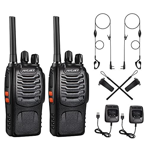 Walkie Talkie Recargable 16 Canales CTCSS DCS Walkie Talkie 1500mAh con Cargador USB, Radiocomunicación con el Auricular Incorporado Antorcha de LED (Negro)