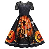 OutTop Women's 1950s Retro Vintage Dresses Halloween Short Sleeve Lace Cocktail Evening Party Prom Wedding Dress (Black, XL)
