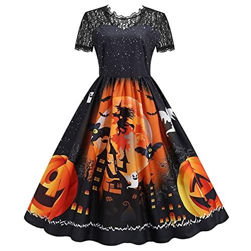 Blingko Damen Kleider Mode Kostüm Kürbis Muster 1950er Jahre Hausfrau Rundhals Langarm Lässigmit Halloween Print Kleid Reißverschluss Party...