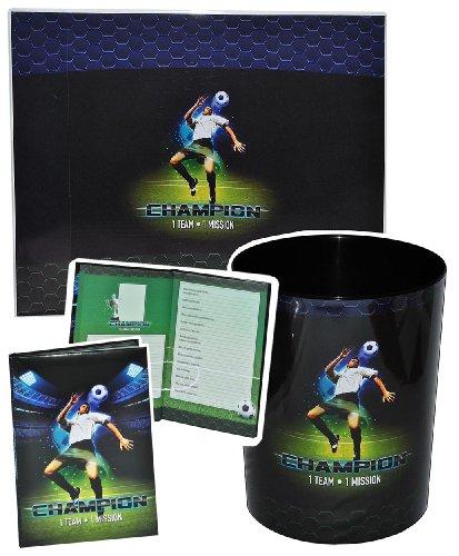 alles-meine.de GmbH 3 TLG. Set: Schreibtischunterlage + Papierkorb + Freundebuch - Fussball - Unterlage / Knetunterlage / Tischunterlage für Jungen Kinder Fußball Champion Sport