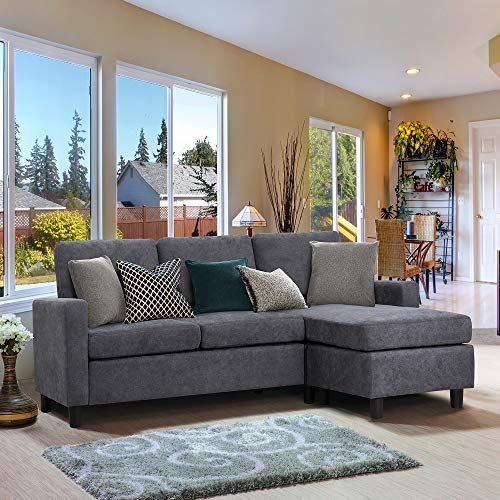 Walsunny Convertible Sectional Sofa Couch with Reversible Chaise, L-Shaped Couch with Modern Linen Fabric for Small Space (Dark Grey)(Update Version)