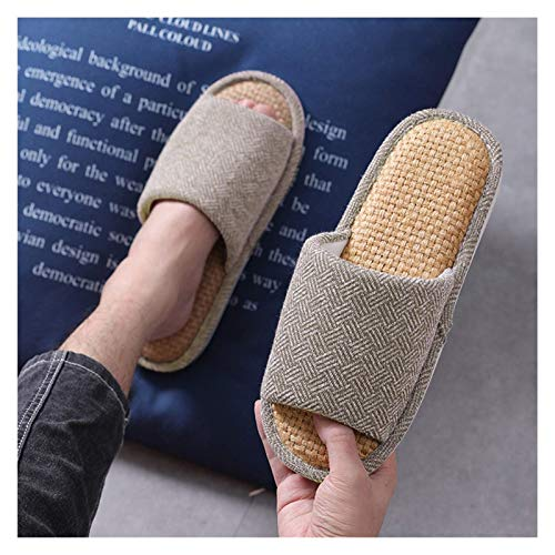 SSM - Pantofole da donna con punta aperta, supporto alle pantofole di lino leggero, pantofole per la camera delle donne, per prevenire la suola morbida, traspirante e confortevole J
