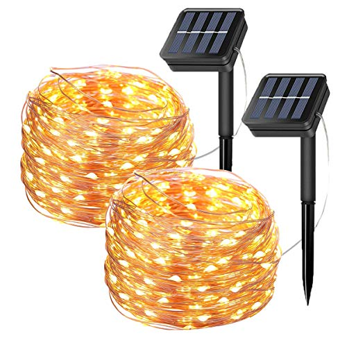 meilleures guirlandes lumineuses solaires 2 Pack Solar Fairy String Lights