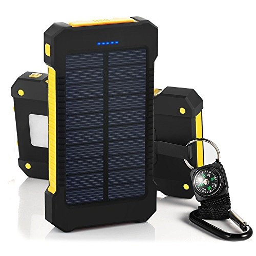 BBtech 30000mAh Portable Solar Charger, Waterproof Dual USB External Battery Power Bank Shockproof Battery Panal Double USB Bank Backup Pack (Yellow)