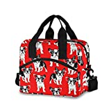 Cartoon French Bulldog Lunch Bag for Women Men Insulated Lunch Box Tote Bag with Detachable Shoulder Strap & Carry Handle,Reusable Cooler Bag for Work School Picnic