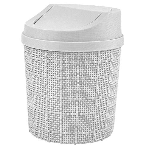 MEEQIAO Mini Mülleimer mit Schwingdeckel,1.5l Tischmülleimer,Kleiner Abfalleimer aus Bruchsicherem Kunststoff, Mini Mülleimer Bad für den Waschtisch