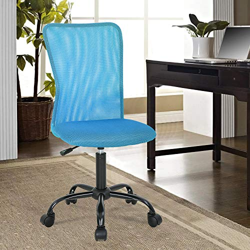 Home Office Desk Chair Ergonomic Mesh Computer Gaming Chair with Back Support Modern Executive Mid Back Rolling Swivel Chair for Men&Women (Blue)
