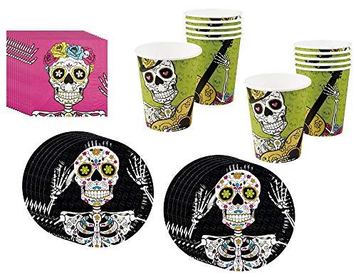 com-four® 36 pezzi Set da tavola di Halloween - Cena di festa con motivi del cranio (036 pezzi - Set di Halloween)