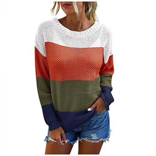 derenzide Women Off Shoulder Long Sleeve Sweaters Pullover Outerwear,Color Block Casual Sweaters Knitted Jumper Tunic Tops Orange