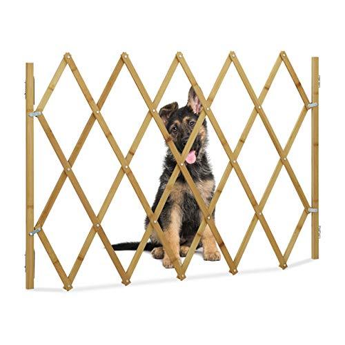 Relaxdays Hundeabsperrgitter, Schutzgitter für Tür & Treppe, Scherengitter ausziehbar bis 116,5 cm, 82,5 cm hoch, Natur, 1 Stück