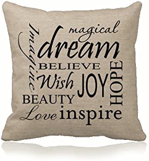 ilkin Custom Decorative Inspirational Quotes Cushion Cover 100% Cotton Blend Linen Square Pillow case - Pillow Covers for Sofa, Living Room, Etc.